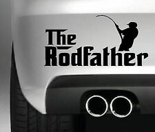 THE RODFATHER BUMPER STICKER FUNNY FISHING TACK LAKE SEA ROD FISH CAR