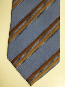 NEW $195 Ermenegildo Zegna Mid Blue With Gold Stripe Silk Tie Italy