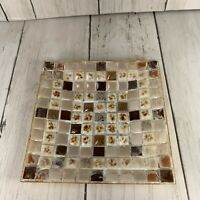 Vintage Mosaic Tile Tray Or Dish Metal Bottom Preowned