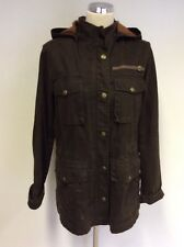 TIMBERLAND WEATHER GEAR BROWN COTTON ZIP UP DETACHABLE HOOD JACKET SIZE L