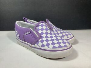 Toddler Size 7 Vans Checkerd Purple White Colored Girls