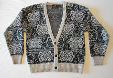 80s Vintage Sweater Cardigan Christmas Mens Womens Geometric Wild Print L