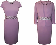 SIZE 20 MOTHER OF THE BRIDE GROOM OUTFIT 2 PIECE JACKET DRESS PURPLE MAUVE