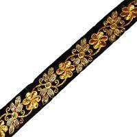 1 Yd Fabric Women Dressmaking Sari Border Black Sewing Lace Ribbon Fabric Trim