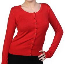 BANNED Womens Ladies Vintage 1950s Retro Plain Colour Long Sleeve Cardigan Red UK 12 (m)