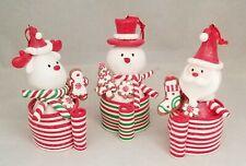 "Candy Ornament Reindeer Snowman Santa 4"" Set 3 Clay-dough Christmas Kurt Adler"