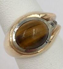 10K Yellow Gold Cabochon Tiger Eye Cubic Zirconia Ladies Band Ring Size 5