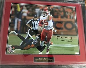 Patrick Mahomes signed framed 16x20 photo, left-handed pass