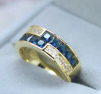 Vintage Jewellery Gold Ring Blue White Sapphires Antique Deco Jewelry P 8
