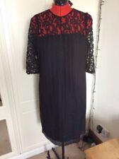 SUPERBE 59 £ m&s collection DENTELLE NOIRE Fan plissé bas robe de soirée Sz 14 Bnwt