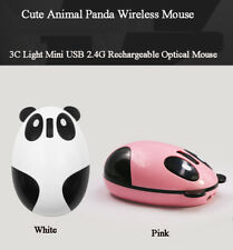 Panda Shaped Mouse Rechargeable Wireless 2.4GHz Optical Computer Mice White/Pink