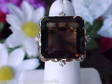 $1,971 HUGE 14K 8.3GR 20CT PRINCESS CUT CHOCOLATEY SMOKY QUARTZ DIAMOND RING