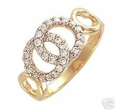 9ct Gold Cubic Zirconia Interlinked Circles Ring  Sizes M & Q 1/2  3.5gms  NEW