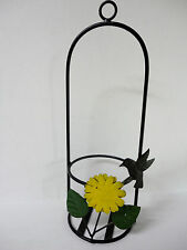 New listing Wrought Iron & Tin Metal Sunflower Hummingbird Flower Pot / Wine Bottle Holder!
