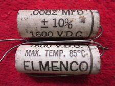 2 Vintage Nos Elmenco .0082 Mfd, 1600Vdc Capacitor