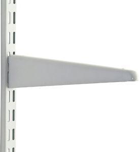 White UPSIDE DOWN SHELF BRACKET Twin Slot Shelving Shop Display System 470mm