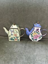 2 Enamel Metal Mini Tea Pots One Hummingbird Flowers Other Pot Two Tone Flowers