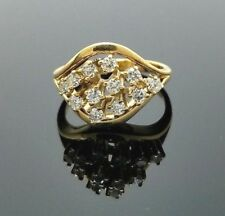 Ring Vintage 14K Diamond Yellow Gold Cluster Estate .50 CTW Size 5.5