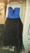 WEDDING /BRIDESMAID/PROM/PARTY DRESS BLUE/BLACK CHIFFONY STRAPLESS FLOWY 34 CHES