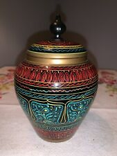 Rosewood Cookie Jar With Painted Design