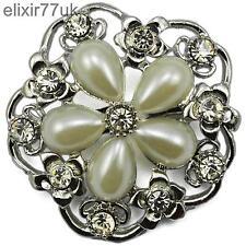 Reino Unido de Gran Plateado Diamante cristal de Estrás Broche alfiler flor + Regalo Gratis