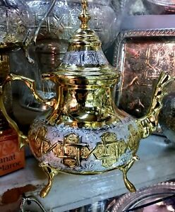 Moroccan Handmade  traditional Gold Silver Plated Teapot X LARGE Size