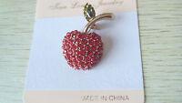 Charm Gift New Fashion Cute Red Sweet Small Apple Crystal Rhinestone Brooch Pin