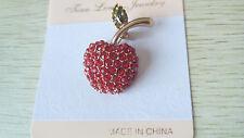 Fashion Cute Red Sweet Small Apple Crystal Rhinestone Brooch Pin Charm Gift New