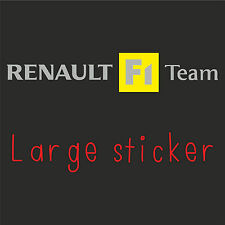 1 x LARGE Renault F1 Team Sticker Decal adhesive in SILVER (clio, megane sport)
