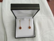 9ct Rose Gold and Citrine Chain Drop Earrings in Box