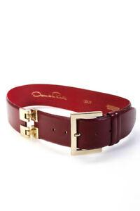 Oscar de la Renta Womens Leather Gold Tone Hardware Belt Red Size XS