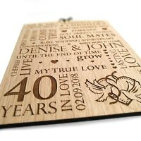 Wedding Anniversary Gift Personalised Oak Wooden Plaque Sign 1st 25th 30th 40th