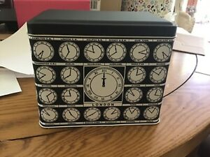 REDUCED!Alice Scott, Greenwich Mean Time hinged lidded Tin/Caddy