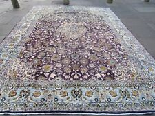 Shabby Chic Worn Vintage Hand Made Traditional Blue Wool Large Carpet 383x290cm