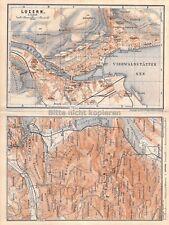 Luzern Vierwaldstätter See um 1920 historischer alter Stadtplan Landkarte map