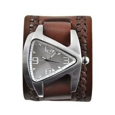 Nemesis Oversized Teardrop Watch with Brown Embossed Leather Cuff Band Vintage