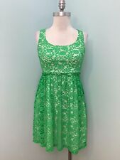 Anthropologie Minuet S Green Crochet Skater Open Back Cocktail Party Dress