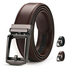 Mens Genuine Leather Belt Detachable Waistband Strap Automatic Steel Buckle 35mm