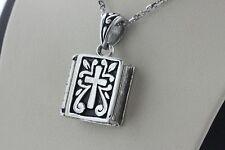 Sterling Silver Cross Scroll Design Opening Bible Prayer Box Locket Charm