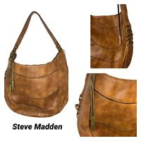 Steve Madden Brown Faux Leather Boho Bag Shoulder Purse Decorative Rings Charms