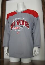 L Adult CCM Detroit Red Wings NHL Hockey Jersey Gray Red White large EUC