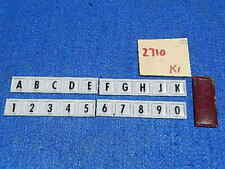 Wurlitzer 2710 Selector Switch Letter and Number Inserts plus Select