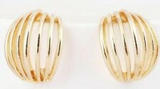 Awesome New Yellow Gold Filled Wide Slotted Stud Demi Hoop Earrings