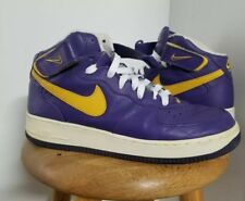 low priced 9aa99 64987 Free Shipping. Nike Air Force 1 Mid Size 9.5 Lakers Purple Gold Pre-Owned  306352-571