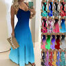 Womens Pullover CAMI Sundress Swing Maxi Fitted UK Ladies Ombre Long Slip Dress