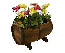 Wooden Whiskey Barrel Flower Planter