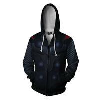 Marvel Avengers Thor 3D Hoodie Cosplay Costume Sweatshirt Coat Jacket Zipper up