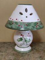 Lenox Holiday Gatherings Tea Light Lamp Christmas holly red green pine candle