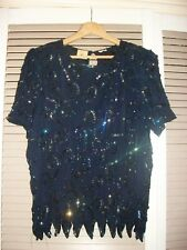VINTAGE-SILK-SEQUIN-EVENING-TOP-GLAMOUR-CRUISE-COCKTAIL PARTY SIZE L