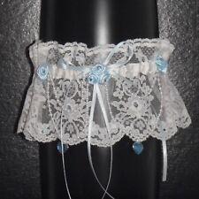 Bride Gift Wedding Garter WHITE Nottingham Lace Handmade Something BLUE